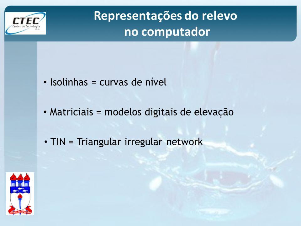 Isolinhas = curvas de nível Matriciais = modelos digitais de elevação TIN = Triangular irregular network Representações do relevo no computador