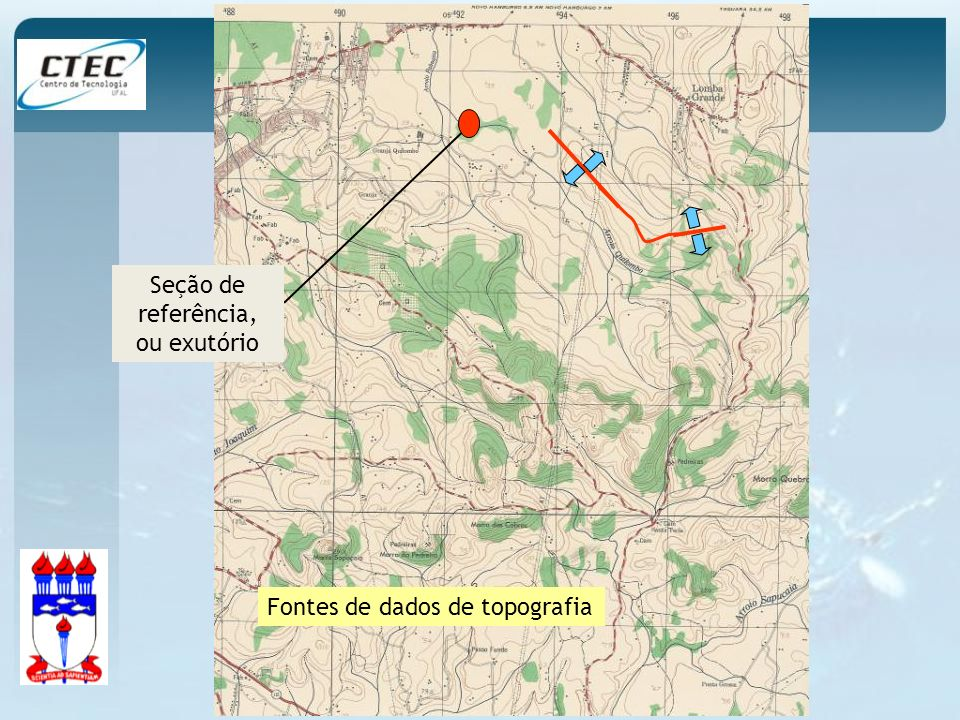 Seção de referência, ou exutório Fontes de dados de topografia