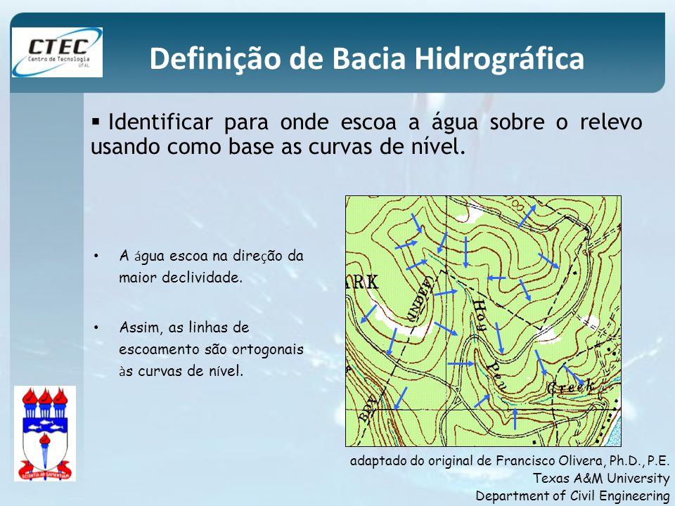Identificar para onde escoa a água sobre o relevo usando como base as curvas de nível. Definição de Bacia Hidrográfica A á gua escoa na dire ç ão da m