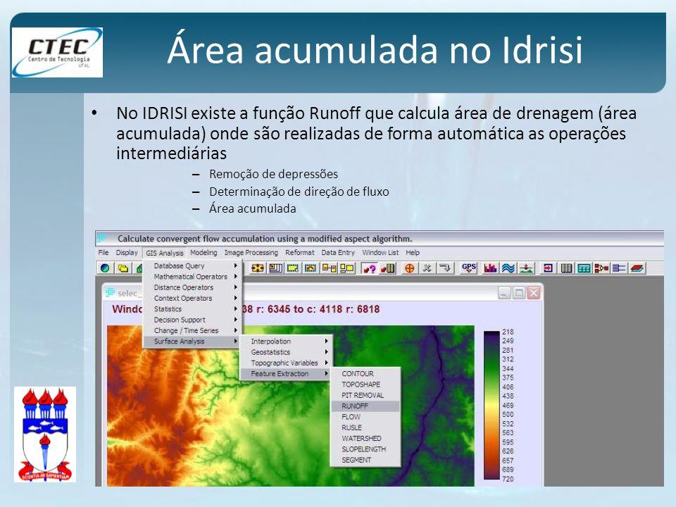 Área acumulada no Idrisi No IDRISI existe a função Runoff que calcula área de drenagem (área acumulada) onde são realizadas de forma automática as ope