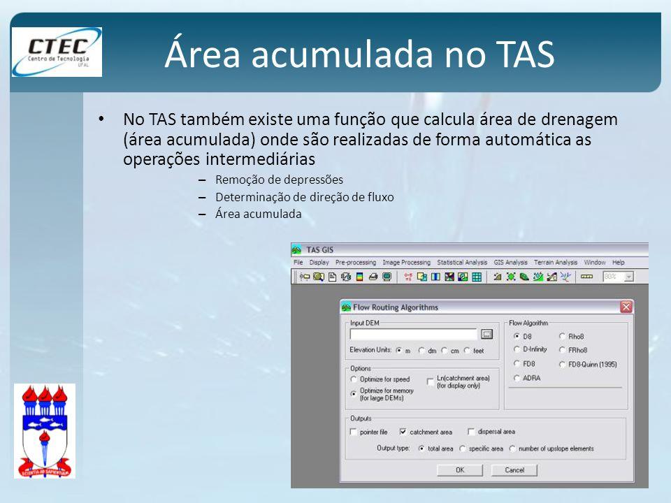 Área acumulada no TAS No TAS também existe uma função que calcula área de drenagem (área acumulada) onde são realizadas de forma automática as operaçõ