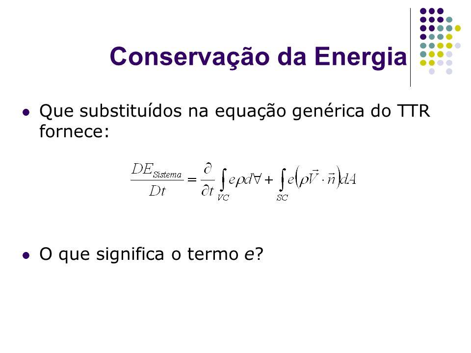 Conservação da Energia Que substituídos na equação genérica do TTR fornece: O que significa o termo e?