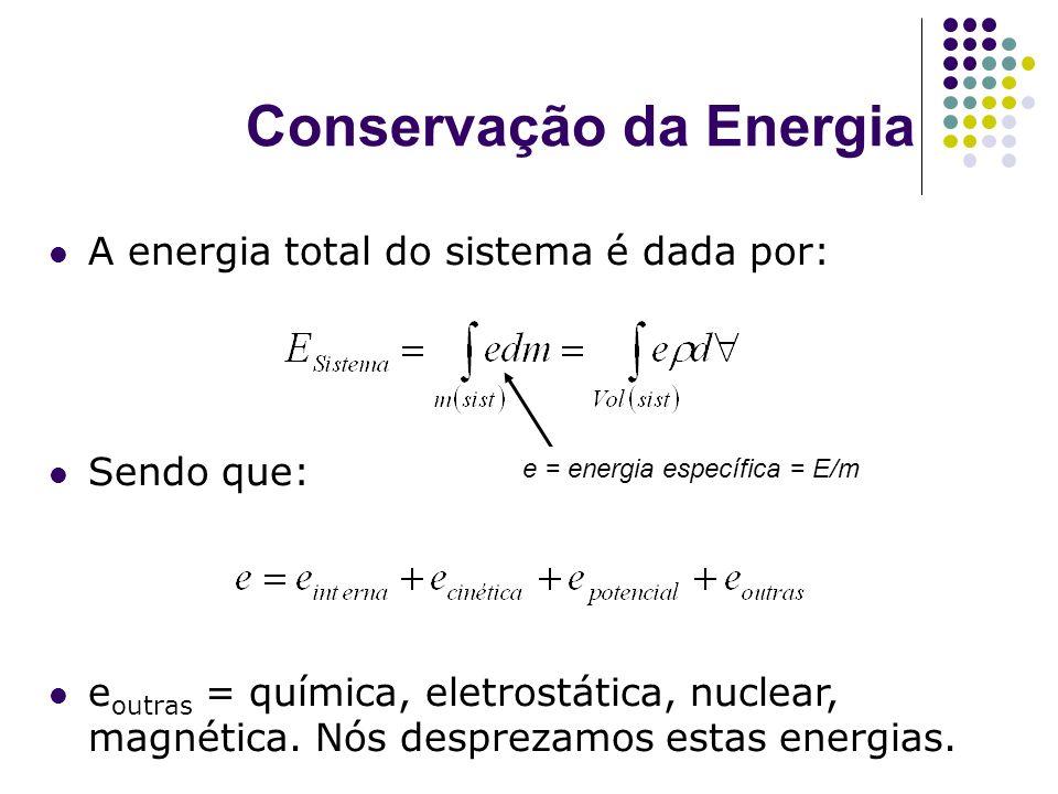 Conservação da Energia A energia total do sistema é dada por: Sendo que: e outras = química, eletrostática, nuclear, magnética. Nós desprezamos estas