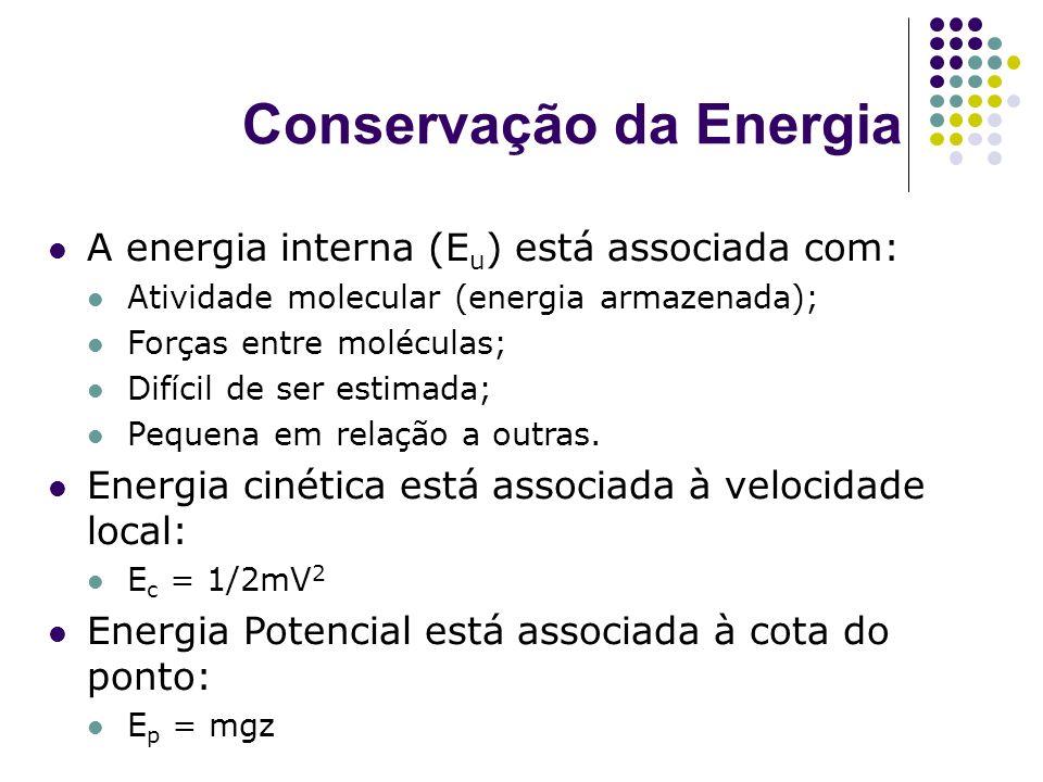 Conservação da Energia A energia interna (E u ) está associada com: Atividade molecular (energia armazenada); Forças entre moléculas; Difícil de ser e