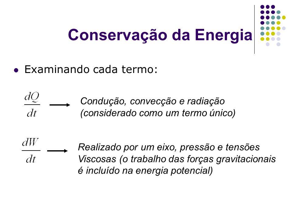 Conservação da Energia Examinando cada termo: Condução, convecção e radiação (considerado como um termo único) Realizado por um eixo, pressão e tensõe