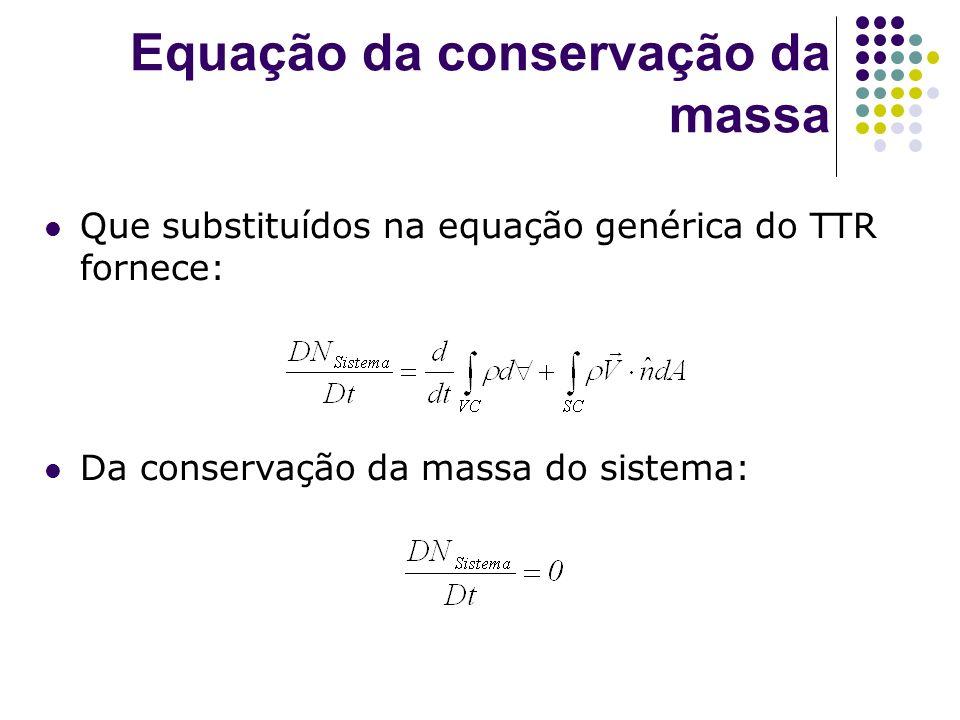 Equação da conservação da massa Balanço Geral para a conservação da massa em um volume de controle Variação interna da massa no V.C.