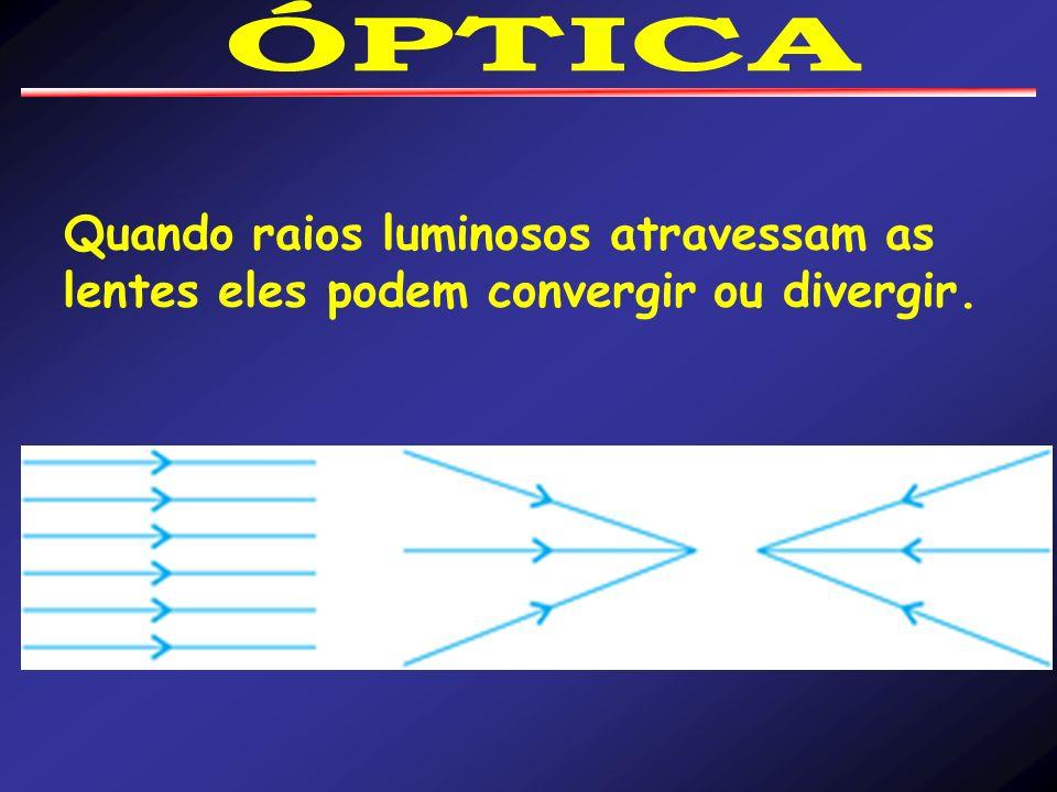 Quando raios luminosos atravessam as lentes eles podem convergir ou divergir.