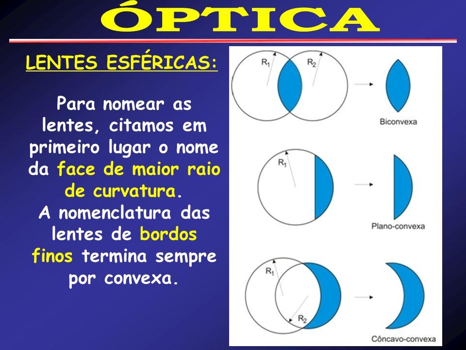 LENTES ESFÉRICAS: Para nomear as lentes, citamos em primeiro lugar o nome da face de maior raio de curvatura.