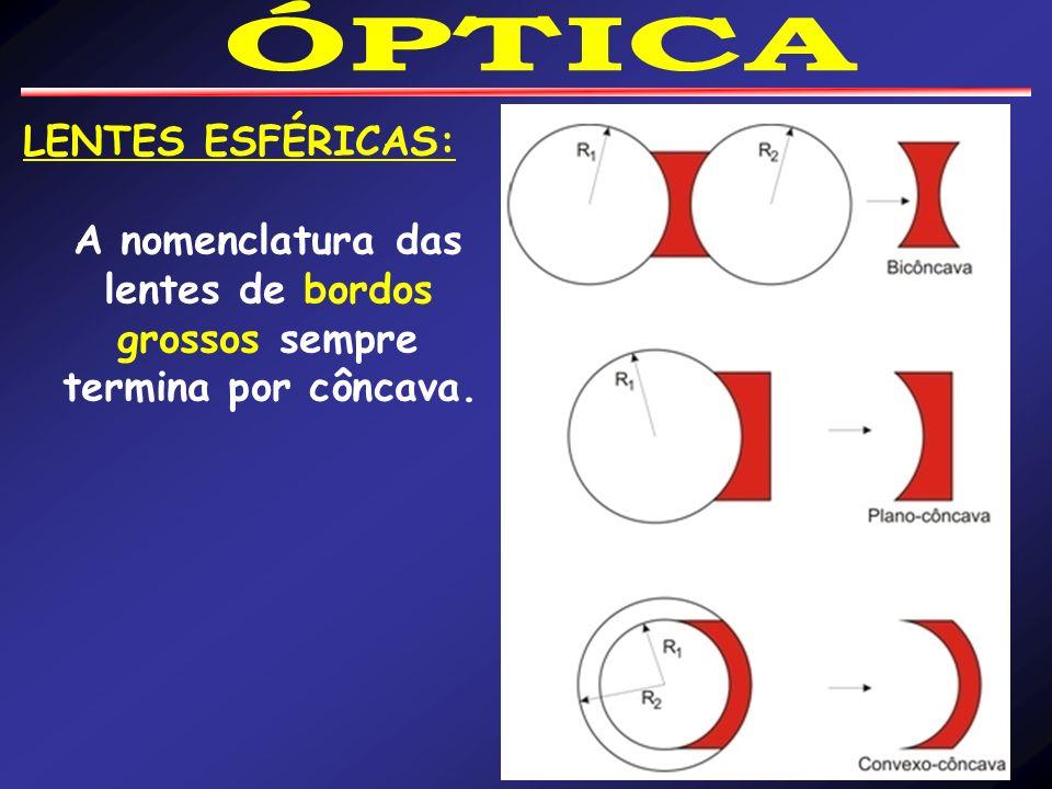 LENTES ESFÉRICAS: A nomenclatura das lentes de bordos grossos sempre termina por côncava.