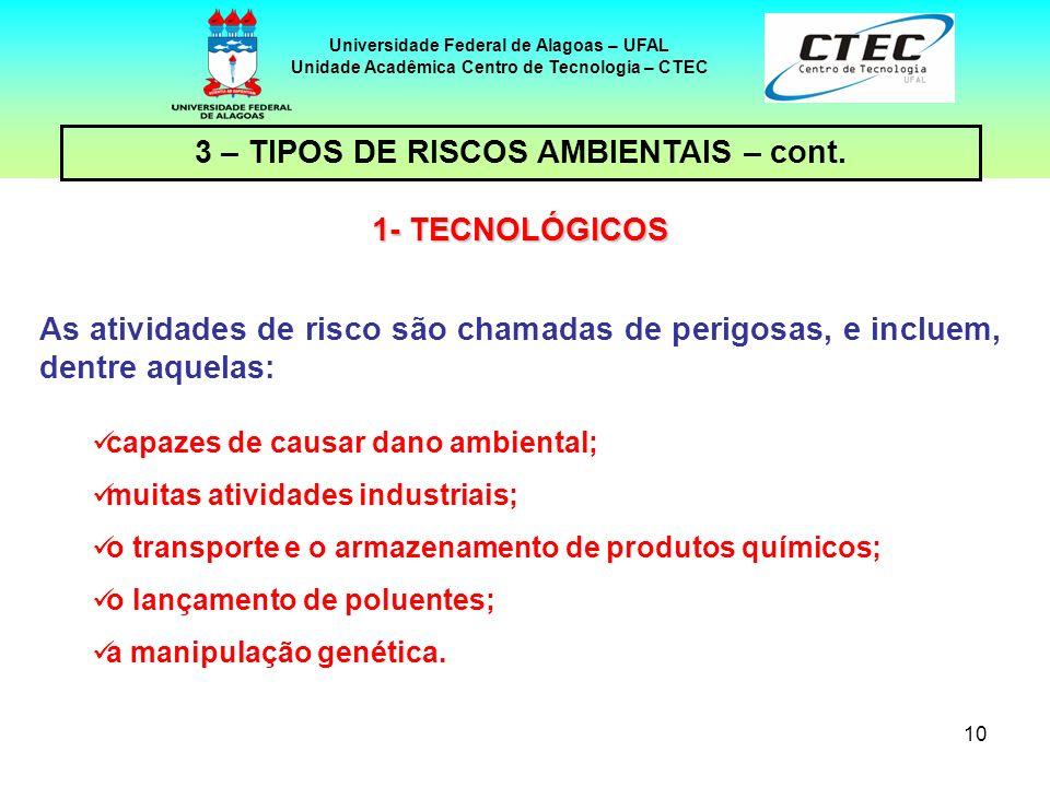 10 Universidade Federal de Alagoas – UFAL Unidade Acadêmica Centro de Tecnologia – CTEC As atividades de risco são chamadas de perigosas, e incluem, d