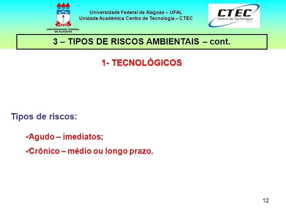 12 Universidade Federal de Alagoas – UFAL Unidade Acadêmica Centro de Tecnologia – CTEC Tipos de riscos: Agudo – imediatos; Crônico – médio ou longo p