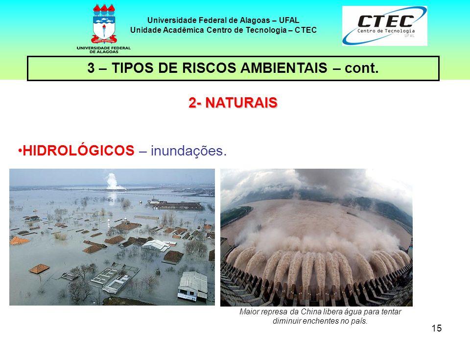 15 Universidade Federal de Alagoas – UFAL Unidade Acadêmica Centro de Tecnologia – CTEC HIDROLÓGICOS – inundações. 2- NATURAIS Maior represa da China
