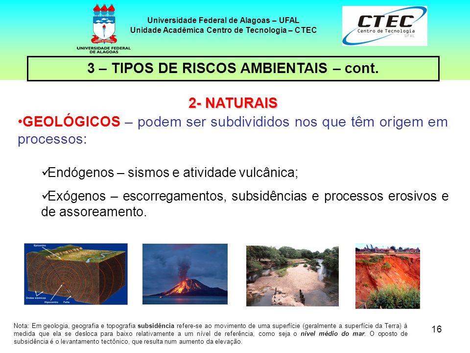 16 Universidade Federal de Alagoas – UFAL Unidade Acadêmica Centro de Tecnologia – CTEC 2- NATURAIS GEOLÓGICOS – podem ser subdivididos nos que têm or