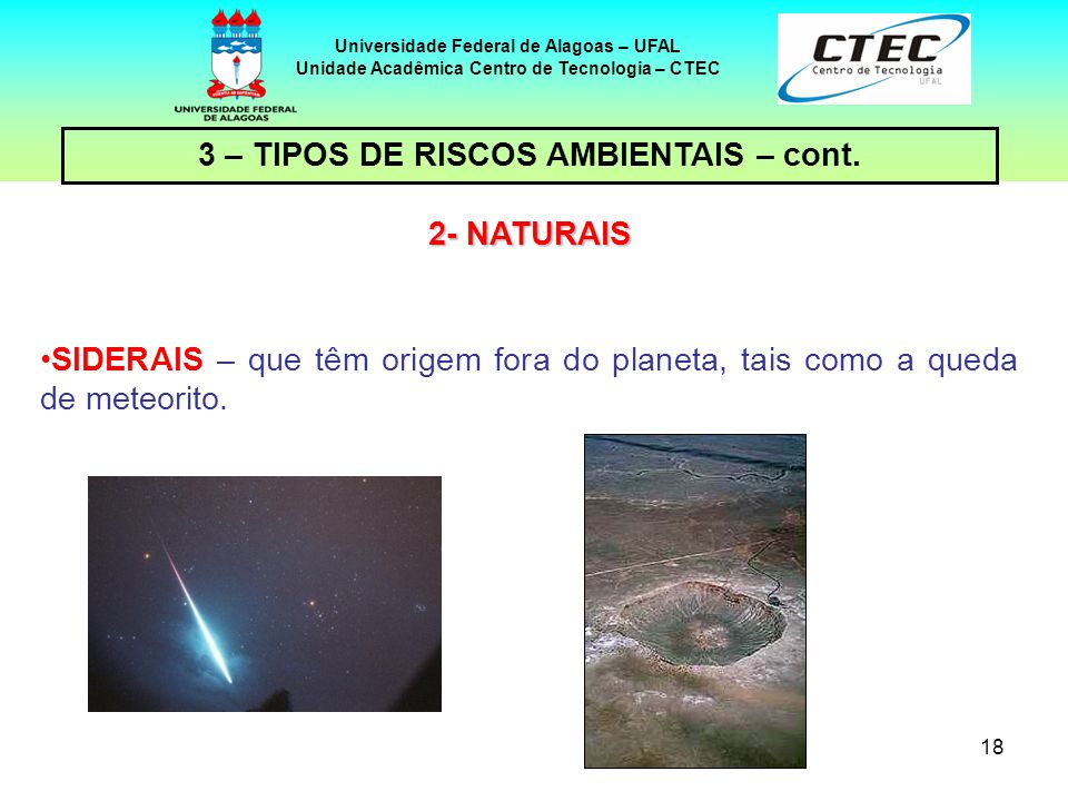 18 Universidade Federal de Alagoas – UFAL Unidade Acadêmica Centro de Tecnologia – CTEC 2- NATURAIS SIDERAIS – que têm origem fora do planeta, tais como a queda de meteorito.