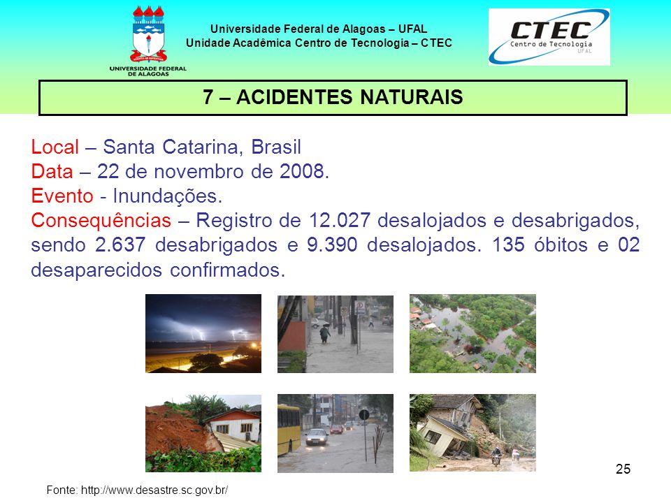 25 Universidade Federal de Alagoas – UFAL Unidade Acadêmica Centro de Tecnologia – CTEC 7 – ACIDENTES NATURAIS Local – Santa Catarina, Brasil Data – 22 de novembro de 2008.