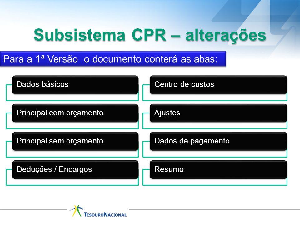 Subsistema CPR – alterações Para a 1ª Versão o documento conterá as abas: Dados básicosPrincipal com orçamentoPrincipal sem orçamentoDeduções / Encarg