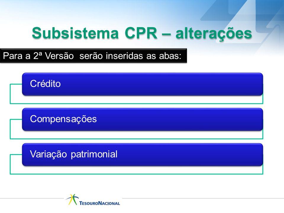 Subsistema CPR – alterações Para a 2ª Versão serão inseridas as abas: CréditoCompensaçõesVariação patrimonial