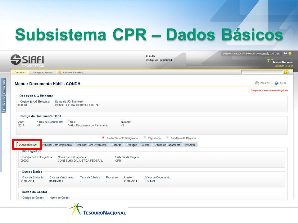 Subsistema CPR – Dados Básicos