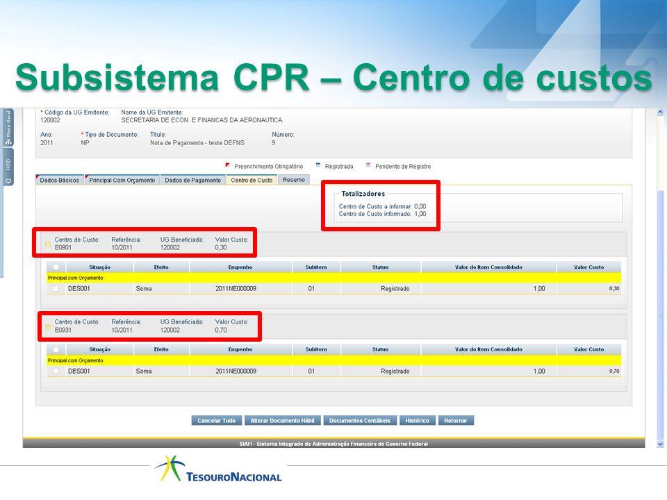 Subsistema CPR – Centro de custos