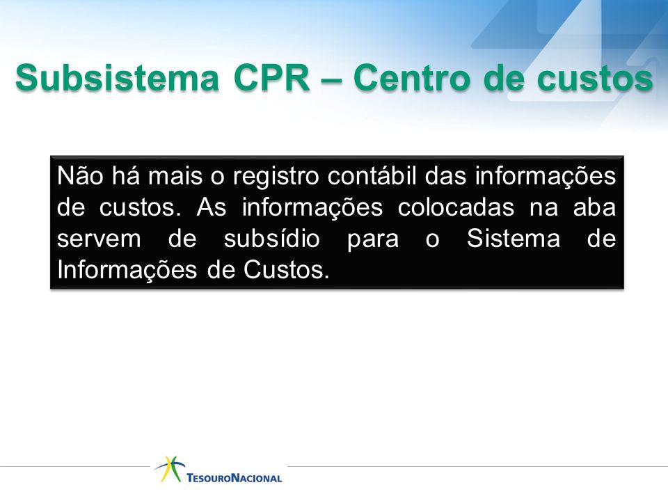 Não há mais o registro contábil das informações de custos. As informações colocadas na aba servem de subsídio para o Sistema de Informações de Custos.