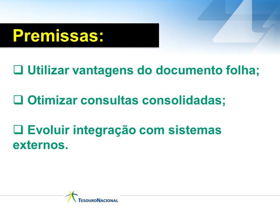 Utilizar vantagens do documento folha; Otimizar consultas consolidadas; Evoluir integração com sistemas externos. Premissas:
