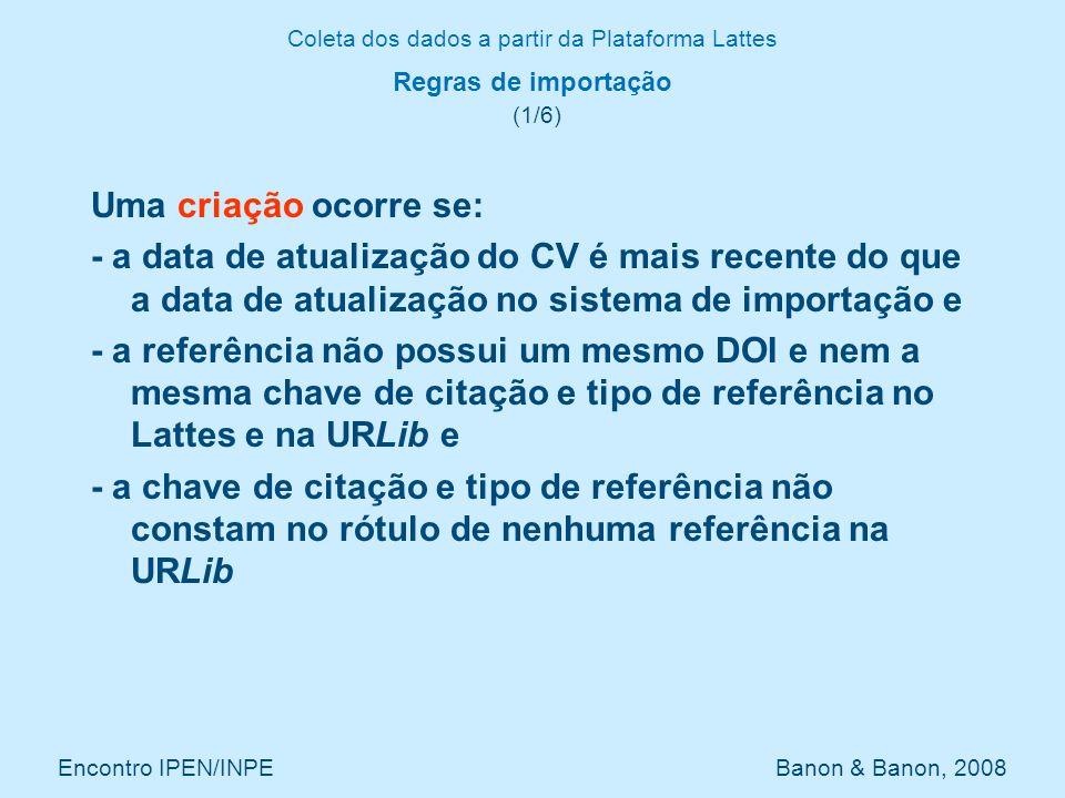 Coleta dos dados a partir da Plataforma Lattes Encontro IPEN/INPE Banon & Banon, 2008 Regras de importação (1/6) Uma criação ocorre se: - a data de at