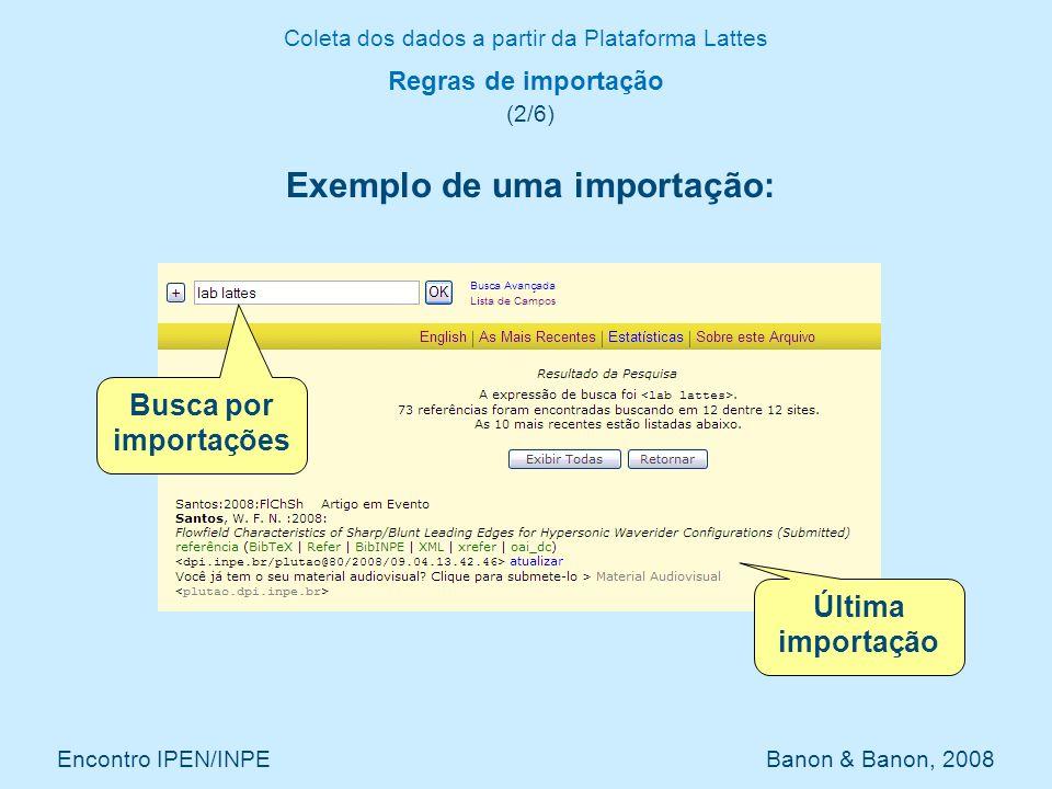 Coleta dos dados a partir da Plataforma Lattes Encontro IPEN/INPE Banon & Banon, 2008 Regras de importação (2/6) Exemplo de uma importação: Busca por