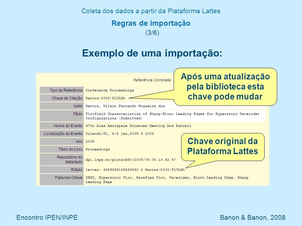 Coleta dos dados a partir da Plataforma Lattes Encontro IPEN/INPE Banon & Banon, 2008 Regras de importação (3/6) Exemplo de uma importação: Após uma a