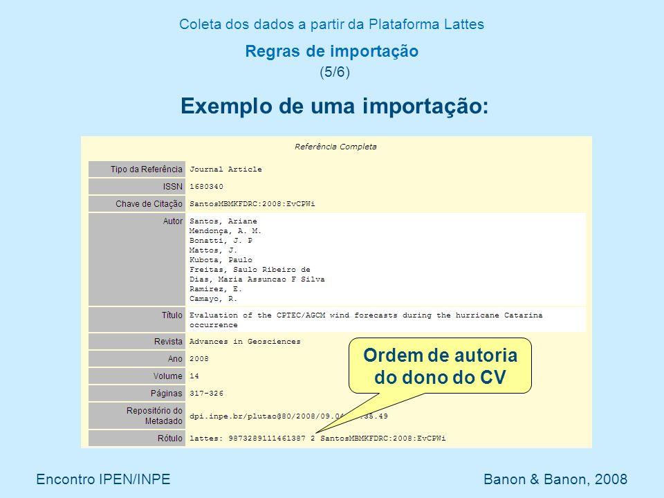 Coleta dos dados a partir da Plataforma Lattes Encontro IPEN/INPE Banon & Banon, 2008 Regras de importação (5/6) Exemplo de uma importação: Ordem de a