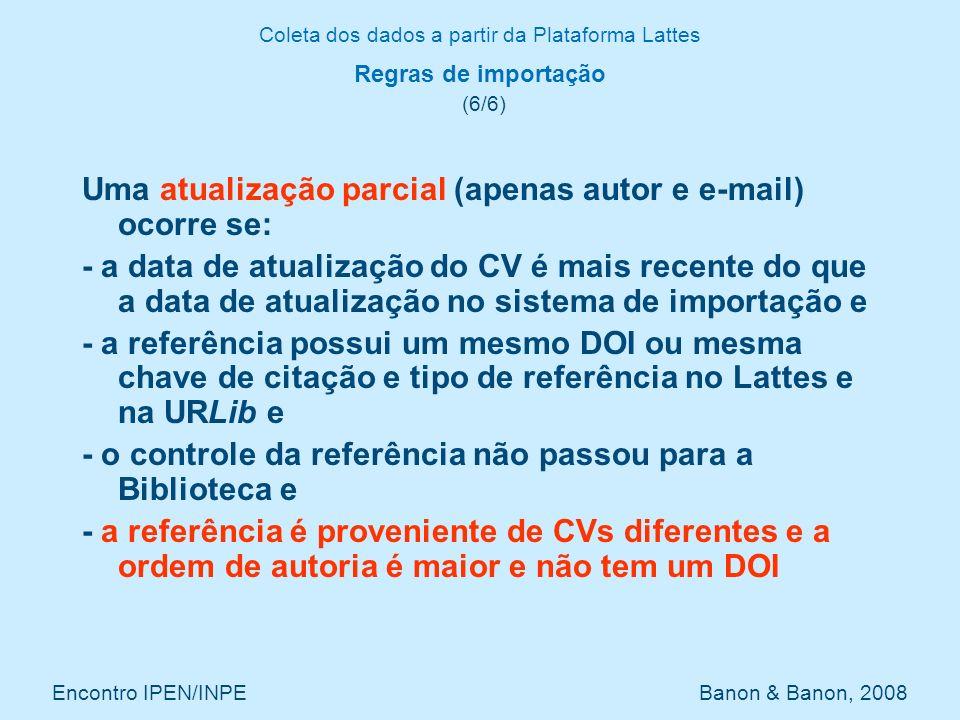 Coleta dos dados a partir da Plataforma Lattes Encontro IPEN/INPE Banon & Banon, 2008 Regras de importação (6/6) Uma atualização parcial (apenas autor