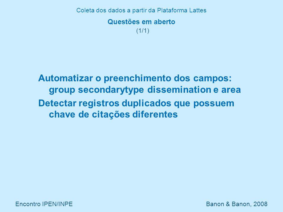 Coleta dos dados a partir da Plataforma Lattes Encontro IPEN/INPE Banon & Banon, 2008 Questões em aberto (1/1) Automatizar o preenchimento dos campos: