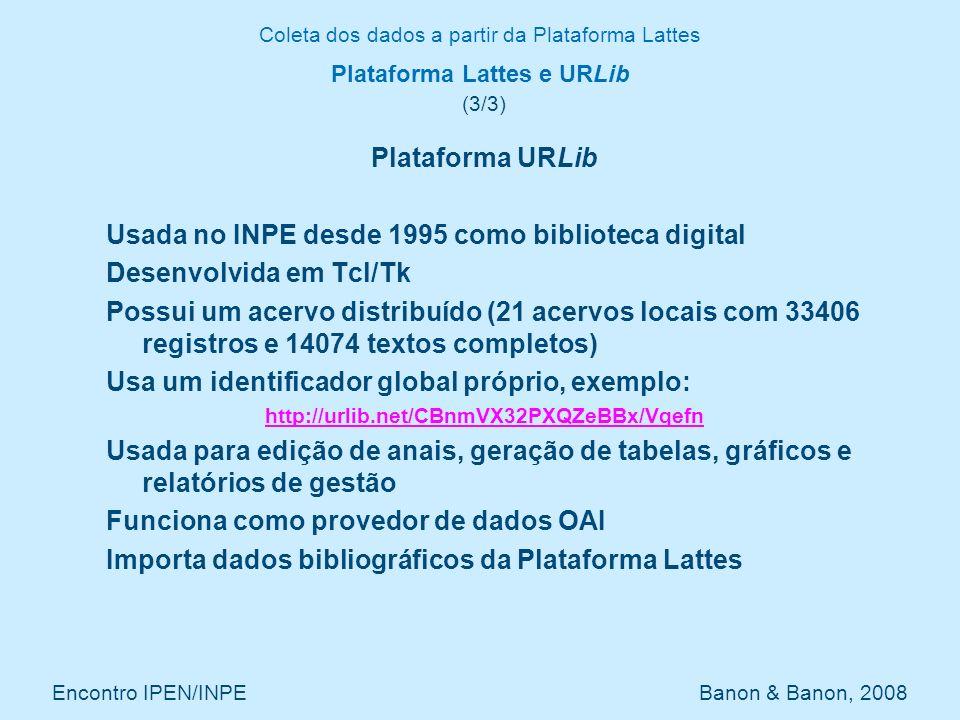 Coleta dos dados a partir da Plataforma Lattes Encontro IPEN/INPE Banon & Banon, 2008 Plataforma Lattes e URLib (3/3) Plataforma URLib Usada no INPE d