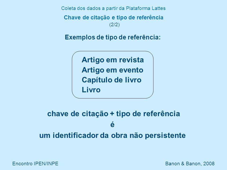 Coleta dos dados a partir da Plataforma Lattes Encontro IPEN/INPE Banon & Banon, 2008 Conversão de formatos (1/1) ARTIGO-PUBLICADO == Journal Article NOME-COMPLETO-DO-AUTOR + NOME-PARA-CITACAO == author ANO-DO-ARTIGO == year TITULO-DO-ARTIGO == title TITULO-DO-PERIODICO-OU-REVISTA == journal VOLUME == volume FASCICULO ou SERIE == number PAGINA-INICIAL + PAGINA-FINAL == page PALAVRAS-CHAVE 1, 2, 3, 4, 5, 6 == keywords Lattes URLib