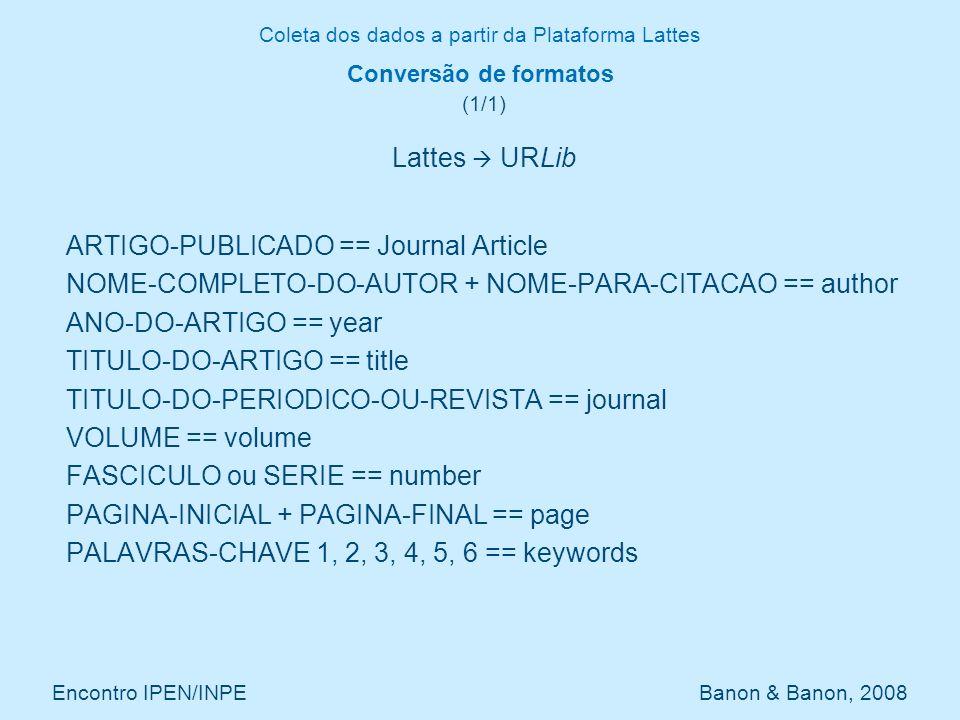 Coleta dos dados a partir da Plataforma Lattes Encontro IPEN/INPE Banon & Banon, 2008 Questões em aberto (1/1) Automatizar o preenchimento dos campos: group secondarytype dissemination e area Detectar registros duplicados que possuem chave de citações diferentes