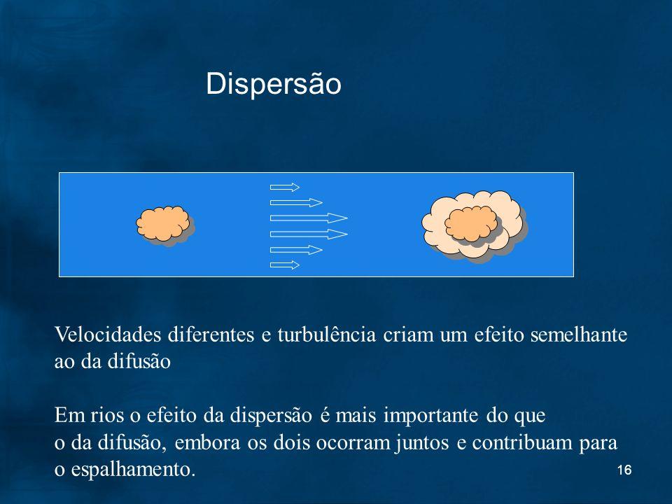 16 Dispersão Velocidades diferentes e turbulência criam um efeito semelhante ao da difusão Em rios o efeito da dispersão é mais importante do que o da