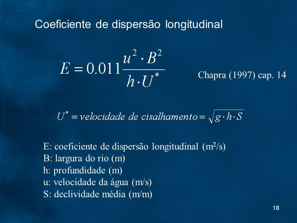 18 Coeficiente de dispersão longitudinal E: coeficiente de dispersão longitudinal (m 2 /s) B: largura do rio (m) h: profundidade (m) u: velocidade da
