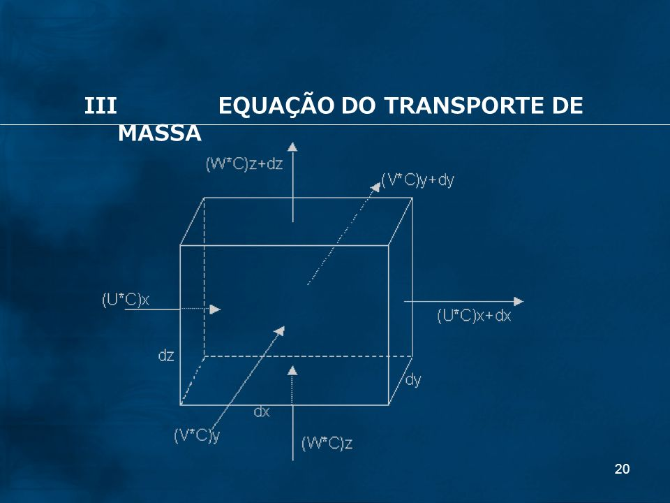20 IIIEQUAÇÃO DO TRANSPORTE DE MASSA