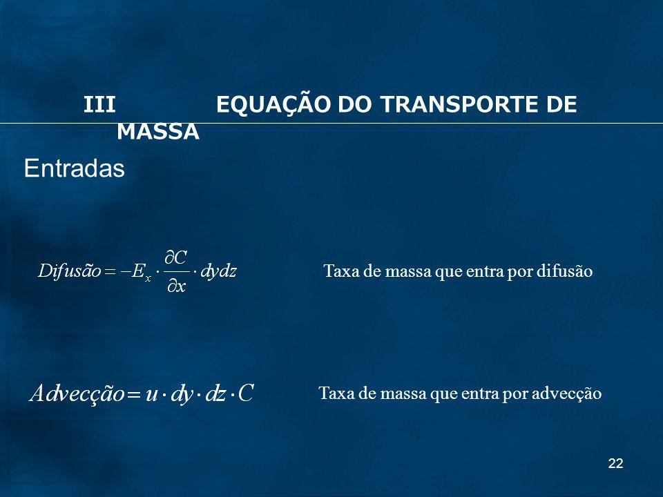 22 Entradas IIIEQUAÇÃO DO TRANSPORTE DE MASSA Taxa de massa que entra por advecção Taxa de massa que entra por difusão