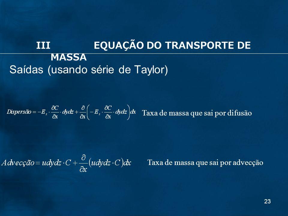 23 Saídas (usando série de Taylor) Taxa de massa que sai por difusão IIIEQUAÇÃO DO TRANSPORTE DE MASSA Taxa de massa que sai por advecção