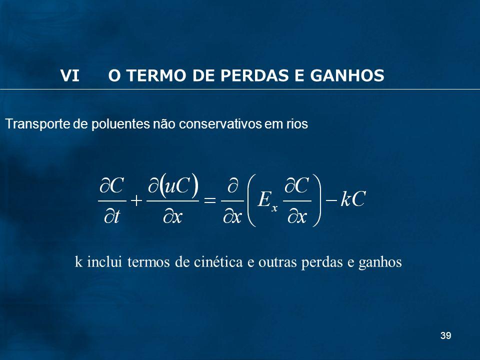 39 k inclui termos de cinética e outras perdas e ganhos Transporte de poluentes não conservativos em rios VIO TERMO DE PERDAS E GANHOS
