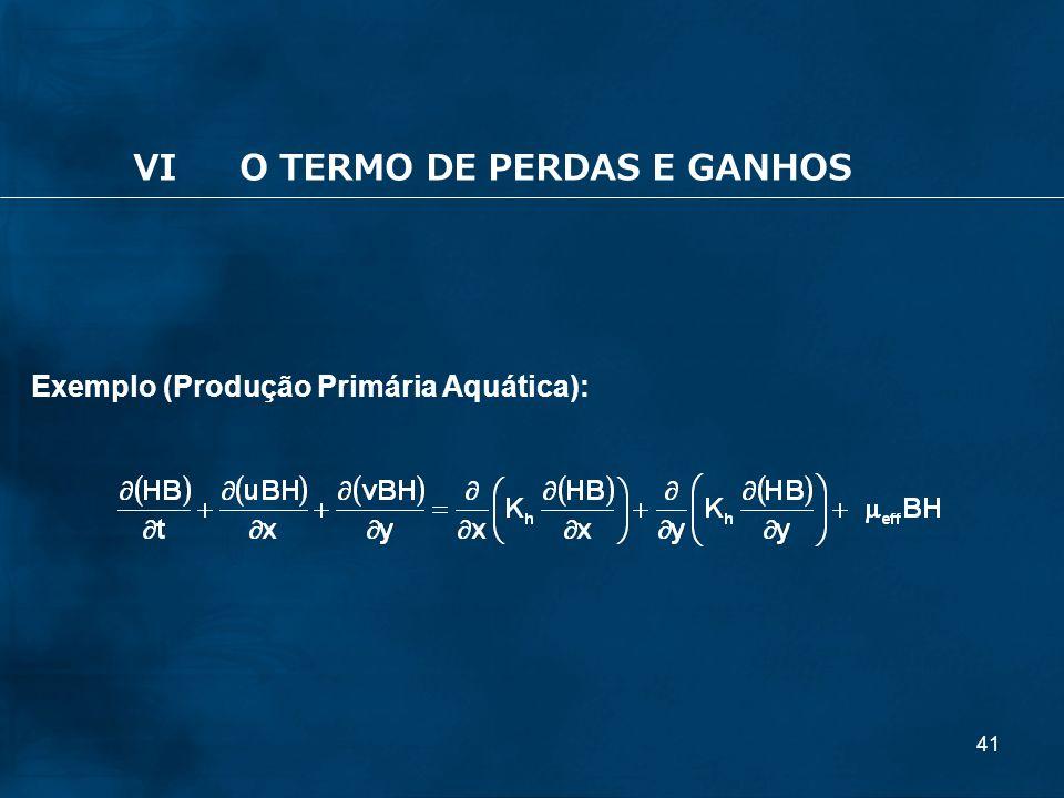 41 Exemplo (Produção Primária Aquática): VIO TERMO DE PERDAS E GANHOS