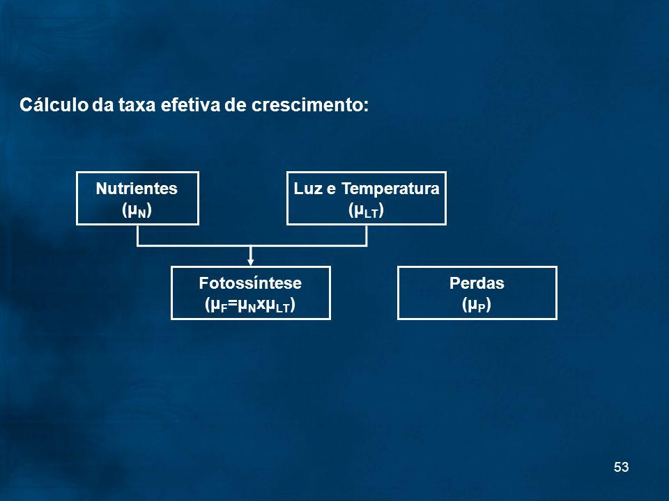 53 Cálculo da taxa efetiva de crescimento: Nutrientes (μ N ) Luz e Temperatura (μ LT ) Fotossíntese (μ F =μ N xμ LT ) Perdas (μ P )