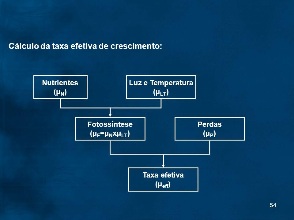 54 Cálculo da taxa efetiva de crescimento: Nutrientes (μ N ) Luz e Temperatura (μ LT ) Fotossíntese (μ F =μ N xμ LT ) Perdas (μ P ) Taxa efetiva (μ ef