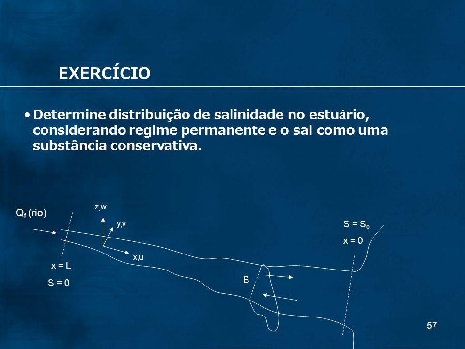 57 EXERCÍCIO Q f (rio) x = L x = 0 B z,w y,v x,u Determine distribuição de salinidade no estuário, considerando regime permanente e o sal como uma sub