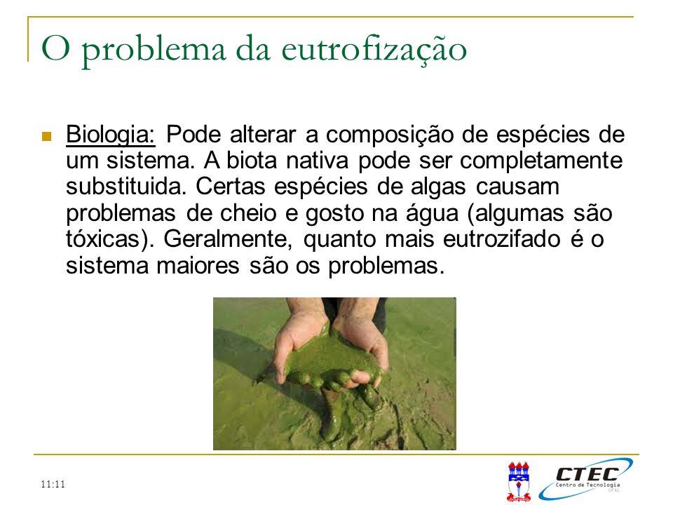 11:11 Biologia: Pode alterar a composição de espécies de um sistema. A biota nativa pode ser completamente substituida. Certas espécies de algas causa
