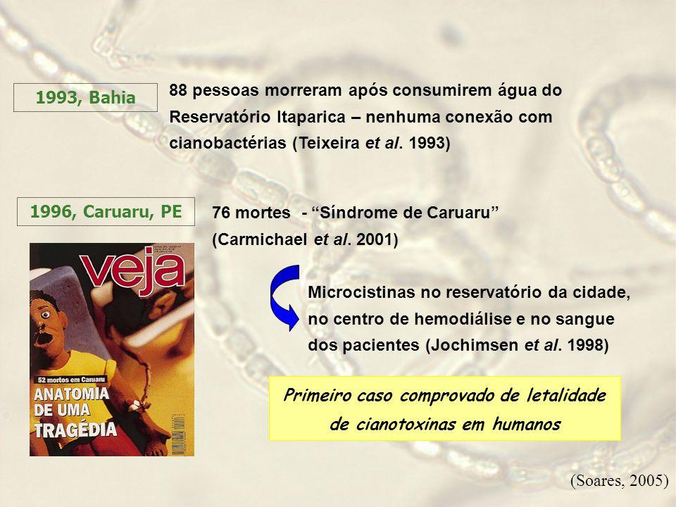 11:11 1993, Bahia 88 pessoas morreram após consumirem água do Reservatório Itaparica – nenhuma conexão com cianobactérias (Teixeira et al. 1993) 1996,
