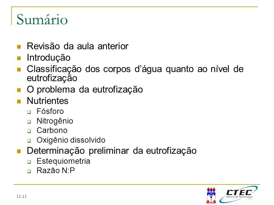 11:11 Sumário Revisão da aula anterior Introdução Classificação dos corpos dágua quanto ao nível de eutrofização O problema da eutrofização Nutrientes