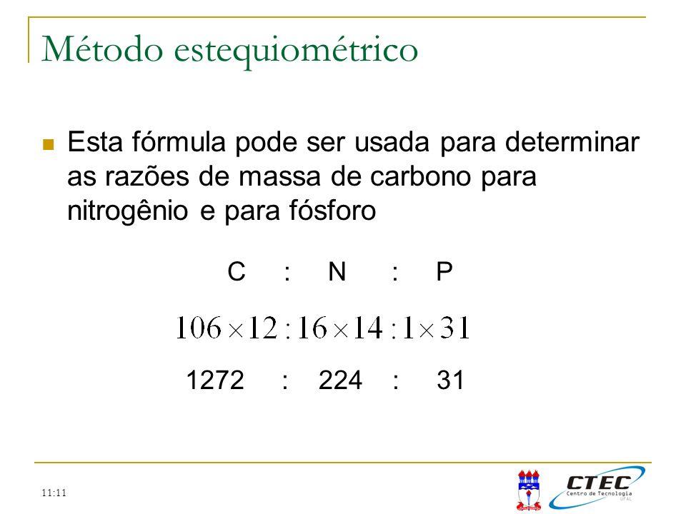 11:11 Método estequiométrico Esta fórmula pode ser usada para determinar as razões de massa de carbono para nitrogênio e para fósforo C : N : P 1272 :