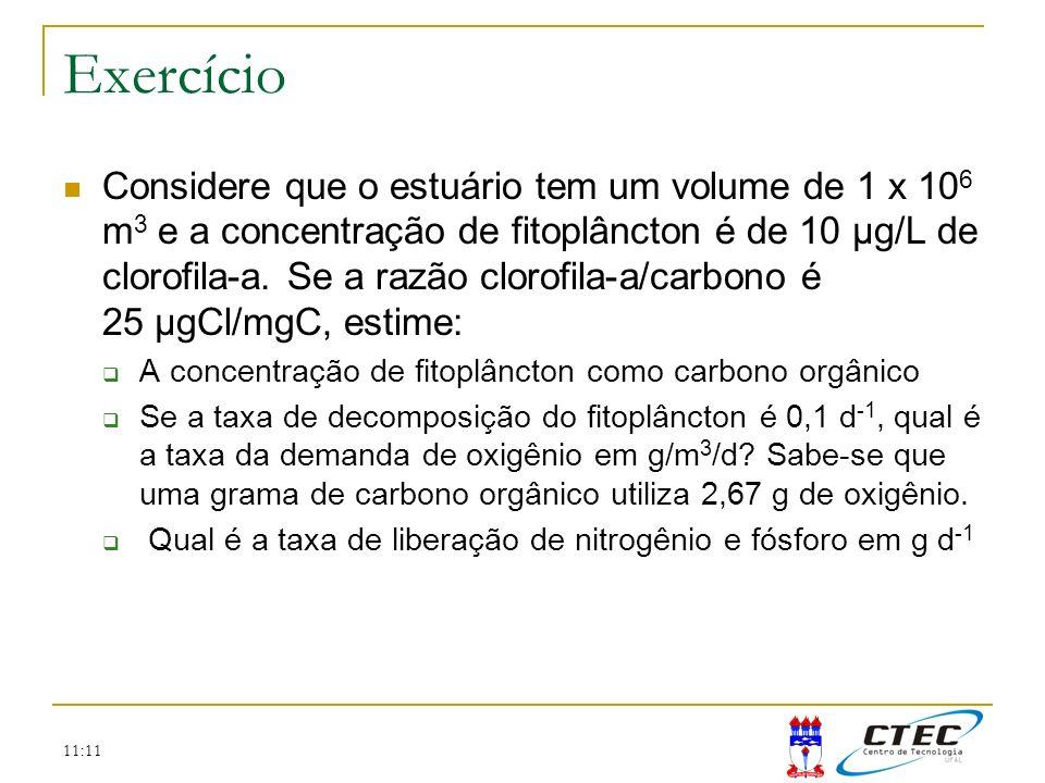 11:11 Exercício Considere que o estuário tem um volume de 1 x 10 6 m 3 e a concentração de fitoplâncton é de 10 μg/L de clorofila-a. Se a razão clorof