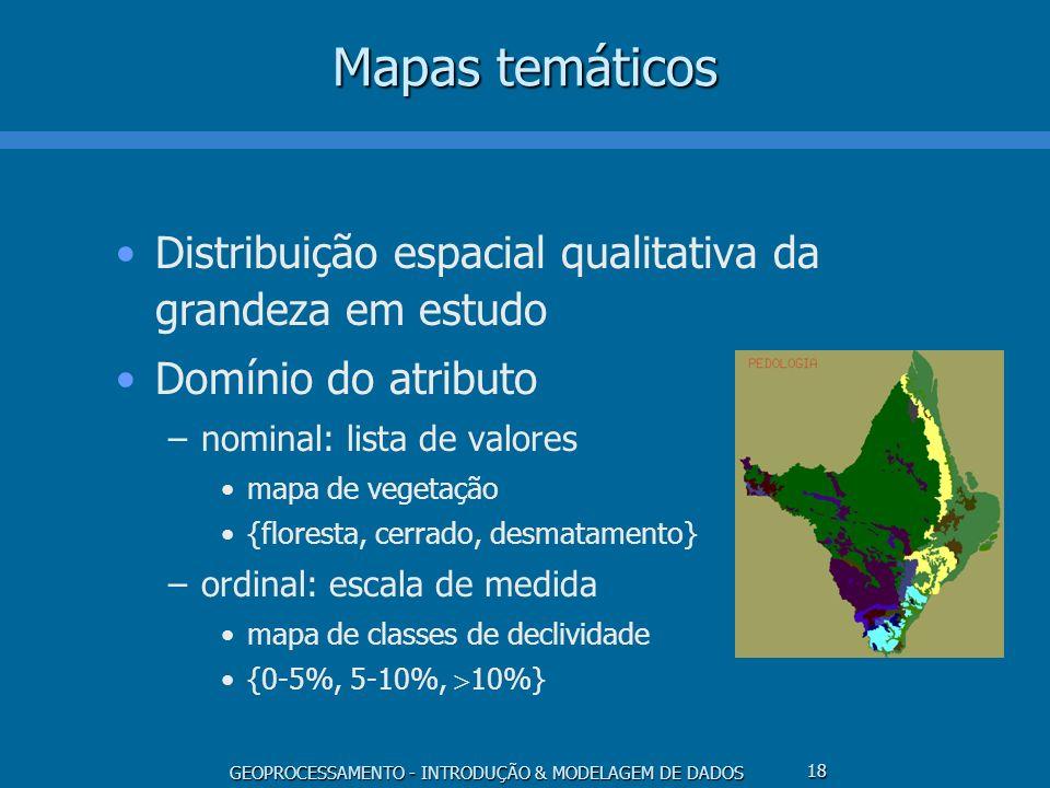 GEOPROCESSAMENTO - INTRODUÇÃO & MODELAGEM DE DADOS 18 Mapas temáticos Distribuição espacial qualitativa da grandeza em estudo Domínio do atributo –nom